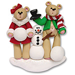Belly Bear w/Snowman<br>Family of  2<br>Personalized Couple Ornament