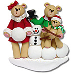 Belly Bear w/Snowman<br>Family of  3<br>Personalized Family Ornament