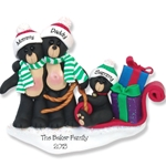 Black Bear Family of 3 w/Sled<br>Personalized Ornament POLYMER CLAY