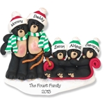 Black Bear Family of 5<br>POLYMER Personalized Family Ornament