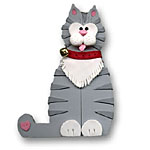 Gray Cat w/Scarf<br>Personalized Cat Ornament