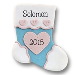 Blue Baby Stocking<br>Personalized Baby Ornament