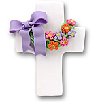 White Cross w/Wreath<br>&amp; Flowers<br>Personalized Easter Ornament