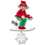 Whizzy the Elf - Personalized  Skier Christmas Ornament