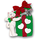 Cat w/Gift Box &amp; 3 Hearts<br>Personalized Ornament