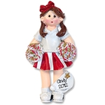 RESIN<br>Red Cheerleader Girl<br>Personalized Ornament