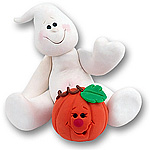 Belly Boo Ghost w/Pumpkin<br>Halloween Ornament