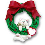 Cat in Wreath-Hanging<br>Personalized Cat Ornament