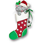 Cat in Large Stocking<br>Personalized Pet Ornament