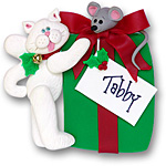 White Cat w/Gift Box<br>Personalized Cat Ornament