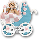 Baby Bear in Blue Buggy <br>Personalized<br>Baby Ornament