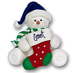Sitting Snowman w/Stocking<br>Personalized Ornament