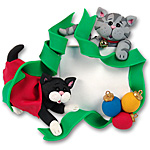 2 Kittens w/Ribbon &amp;<br>Ornaments<br>Personalized Pet  / Cat Ornament