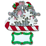 Merry Mouse Family of 4 Personalized Family Ornament