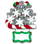 Merry Mouse Family of 5 Personalized Family Ornament