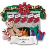 Fireplace w/Bear &amp; 5 Stockings<br>Personalized Family Ornament