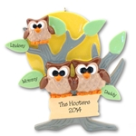 Owl Family of 3<br>Personalized Family Ornament