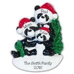 Panda Bear Family of 3<br>RESIN Personalized Family Ornament