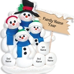 Snowman Family of 4<br>Personalized POLYMER Ornament
