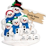 Snowman Family of 5<br>Personalized Family Ornament