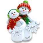 Snowman Couple with Snowflakes<br>Personalized Couples Ornament