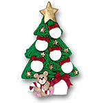 Christmas Tree w/5 Ornaments<br>Personalized Family Ornament