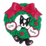 Boston Terrier<br>Hanging in Wreath<br>Personalized Dog Ornament - Limited Edition