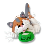 """Ethel""Calico Kitty Cat  Personalized Cat Ornament - Limited Edition"