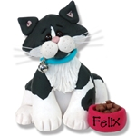 &quot;Felix&quot; Black &amp; White Kitty<br>Cat Personalized Ornament