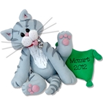 &quot;Mozart&quot; Grey Tabby Kitty<br>Cat Personalized Ornament