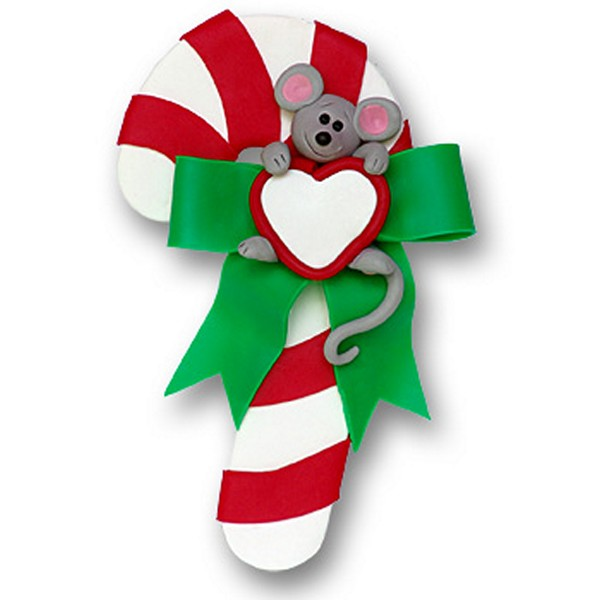 Candy Cane W Mouse Personalized Christmas Ornament