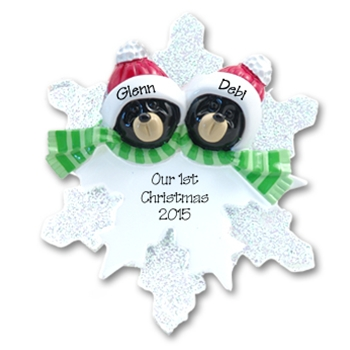 2 Black Bear Heads on Snowflake Personalized Couples Ornament