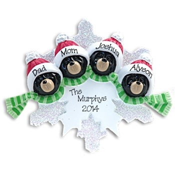 Black Bear Family of 4<br>on Snowflake<br>Personalized Ornament