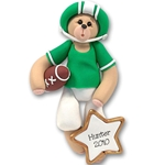 Green Football Belly Bear<br> Personalized Ornament