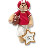 Red Football Player Belly Bear<br>Personalized Ornament