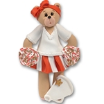 Orange Cheerleader Belly Bear<br>Personalized Ornament