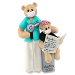 Belly Bear Hairdresser Personalized Ornament w/Face Mask Covid-19 / Pandemic / Corona Virus
