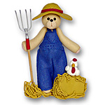 Farmer Belly Bear<br>Personalized Ornament