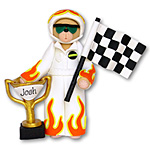 Belly Bear Nascar<br> Race Car Driver<br>Personalized Ornament