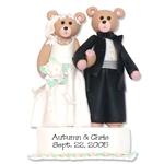 Bride &amp; Groom Belly Bear<br>Personalized Wedding<br>Ornament