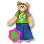 Belly Bear Boy Hippie<br>Personalized Ornament
