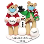 Belly Bear w/Snowman Covid -19 / Pandemic / Coronavirus Personalized Couple Ornament