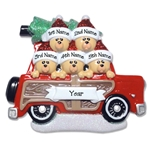 Belly Bear Family of 5 in Woody Wagon RESIN Family Ornament