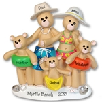 RESIN<br>Beach Belly Bears<br> Family of 5<br>Personalized Ornament