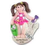 RESIN<br>Giggle Gang<br>Girl at Beach<br>Personalized Ornament