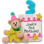 3rd Year Birthday Cake<br>Personalized Ornament