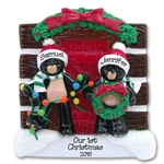 +Black Bear Couple<br>w/Christmas Tree<br>Log Cabin Ornament