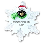 Black Bear<br>on Snowflake<br>Personalized Ornament