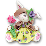 Belly Bunny Girl w/Tulips Easter  Figurine