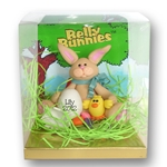 Tan Belly Bunny w/Chick & Egg  Figurine in Cutom Gift Box